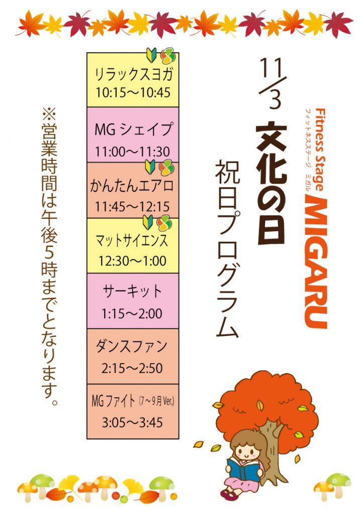 11-3文化の日スケジュール表